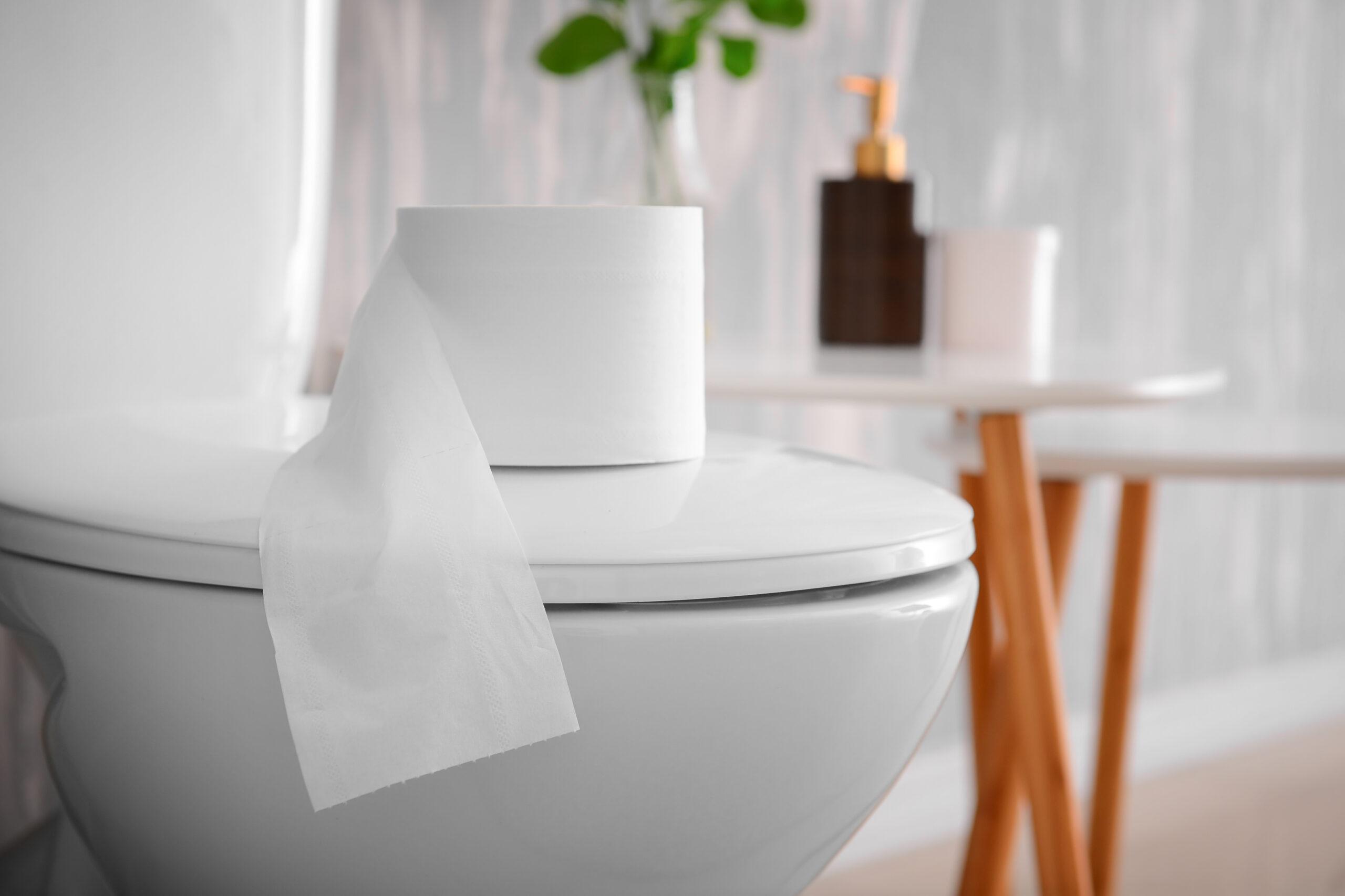 närbild på modern toalett, pappersrulle på locket